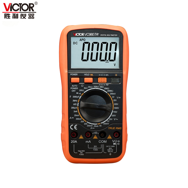 Victor VC9807A+ AC DC Ammeter Voltmeter Ohmmeter Digital Multimeter multimetro conductivity Capacitance Frequency tester BAG auto digital multimeter 6000counts backlight ac dc ammeter voltmeter transform ohm frequency capacitance temperature meter xj23