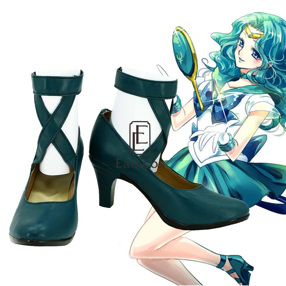 Anime Salior Moon Sailor Neptune/Kaiou Michiru Cosplay Shoes Girls High-heeled Shoes Sailormoon Cos Custom Made