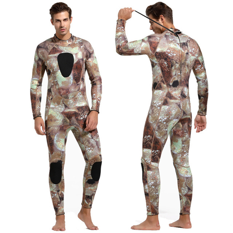 ba6bb7036e Sbart Camo 3MM Neoprene Diving wetsuits men full body Scuba Snorkeling Suit  Spearfishing Warm protective one piece swimsuit