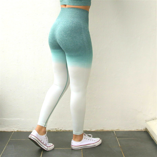Nepoagym Women Ombre Seamless Leggings In TEAL High Waisted Yoga Pants Woman Sport Leggings Training Tights Gym Fitness Leggings 3