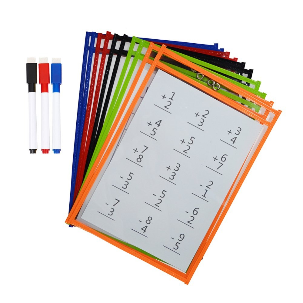 Godery Reusable Dry Erase Pockets, 9 X 12 Inches, Dry Erase Pocket Sleeves Assorted Colors