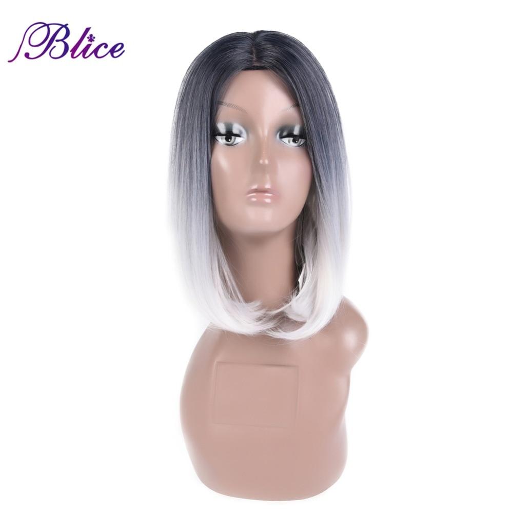 Blice Syntetisk Afroamerikansk Bob Wig För Kvinnor Kort Rak Paryk 12 - Syntetiskt hår