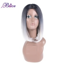 цены на Blice Synthetic African American Bob Wig For Women Short Straight Wig 12