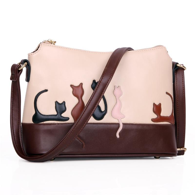 2016 Women Cartoon Cat Shoulder Bags Crossbody Messenger Bag Rabbit Animal Pattern Cute Flap High Quality Leather Handbag
