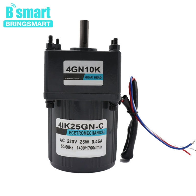 Bringsmart 220V AC Gear Motor 25W Micro Motors Single Phase Inversion Low Fixed Speed Motor With Capacitor bringsmart 220v ac gear motor 25w micro gear motor single phase asynchronous motor adjust speed motor