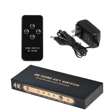 Aikexin 4 K x 2 K 4×1 HDMI Switch Caixa Switcher 4 entrada 1 saída com Controle Remoto HDMI1.4 apoio Ultra HD 4 K, 1080 P 3D