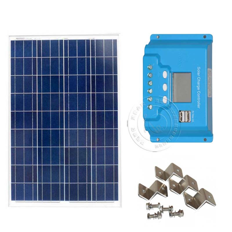 <font><b>100</b></font> <font><b>Watt</b></font> <font><b>Solar</b></font> <font><b>Panel</b></font> Kit 10A LCD Display PWM Charge Controller + MC4 Connectors Mounting Z Brackets for 12V Battery Off Grid image