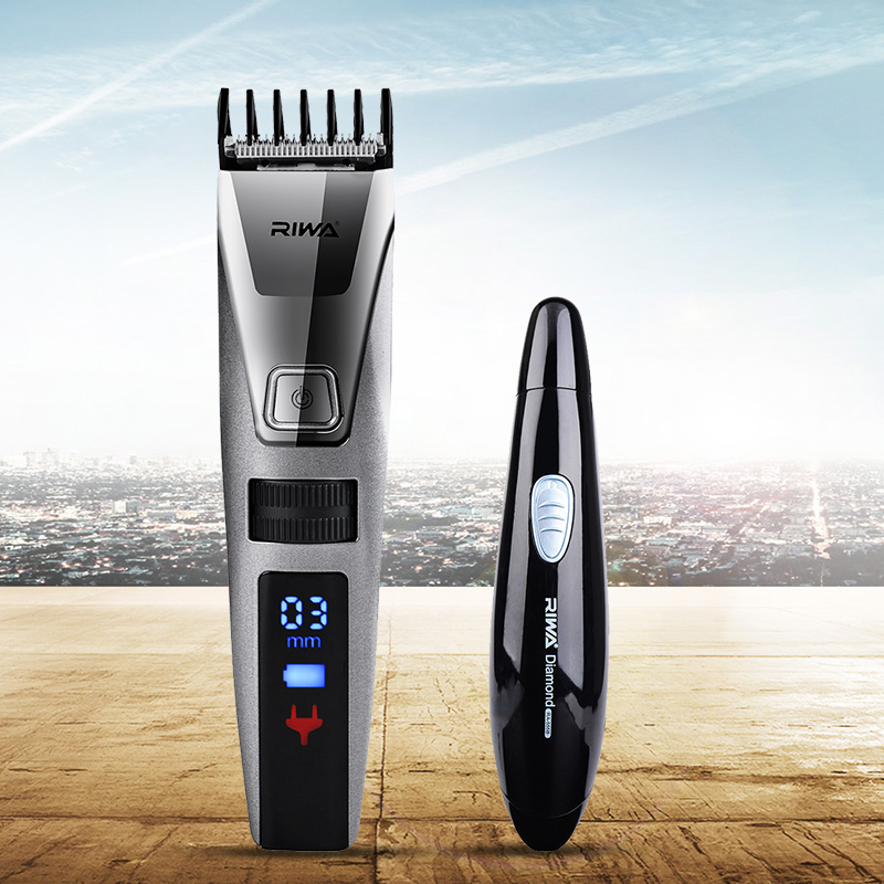 Riwa Original brand Fast Rechargerable Hair Clipper Men LCD Electric Hair Cutting Machine K3 +Nose Ear Trimmer shaver Cutter S34