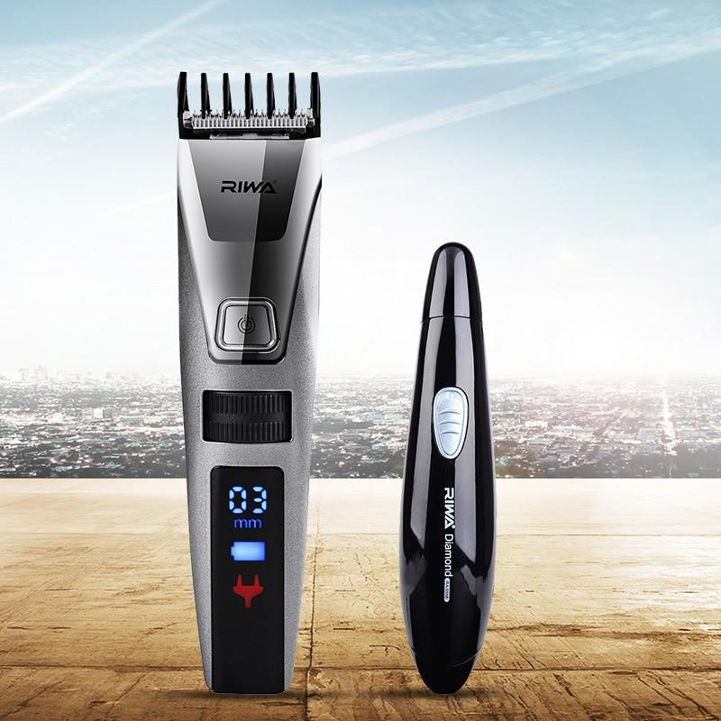 Riwa Original brand Fast Rechargerable Hair Clipper Men LCD Electric Hair Cutting Machine K3 +Nose Ear Trimmer shaver Cutter S34