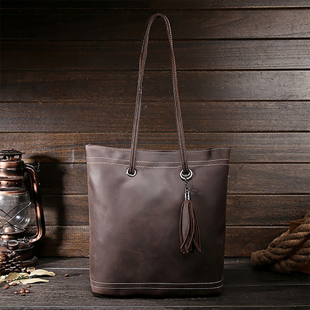 New Crazy Horse Cowhide Women Shoulder Bag Genuine Leather Fashion Casual Ladies Luxury Satchel Bags Famous Brand Tote Handbag kimio brand bracelet watches women reloj mujer luxury rose gold business casual ladies digital dial clock quartz wristwatch hot