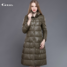 Gours Genuine Leather Duck Down Coat for Women Green Sheepskin Very Long Overcoats Winter Warm Parka New Arrival Plus Size 5XL