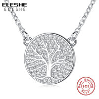 ELESHE Fashion Cubic Zirconia Family Tree Of Life Round Pendants Necklaces 925 Sterling Silver Necklace Women