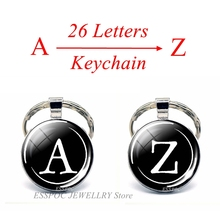 Simple Style 26 Letters Print Personality Name Keychain Handmade Diy Bag Pendant Fashion Key Rings Holder
