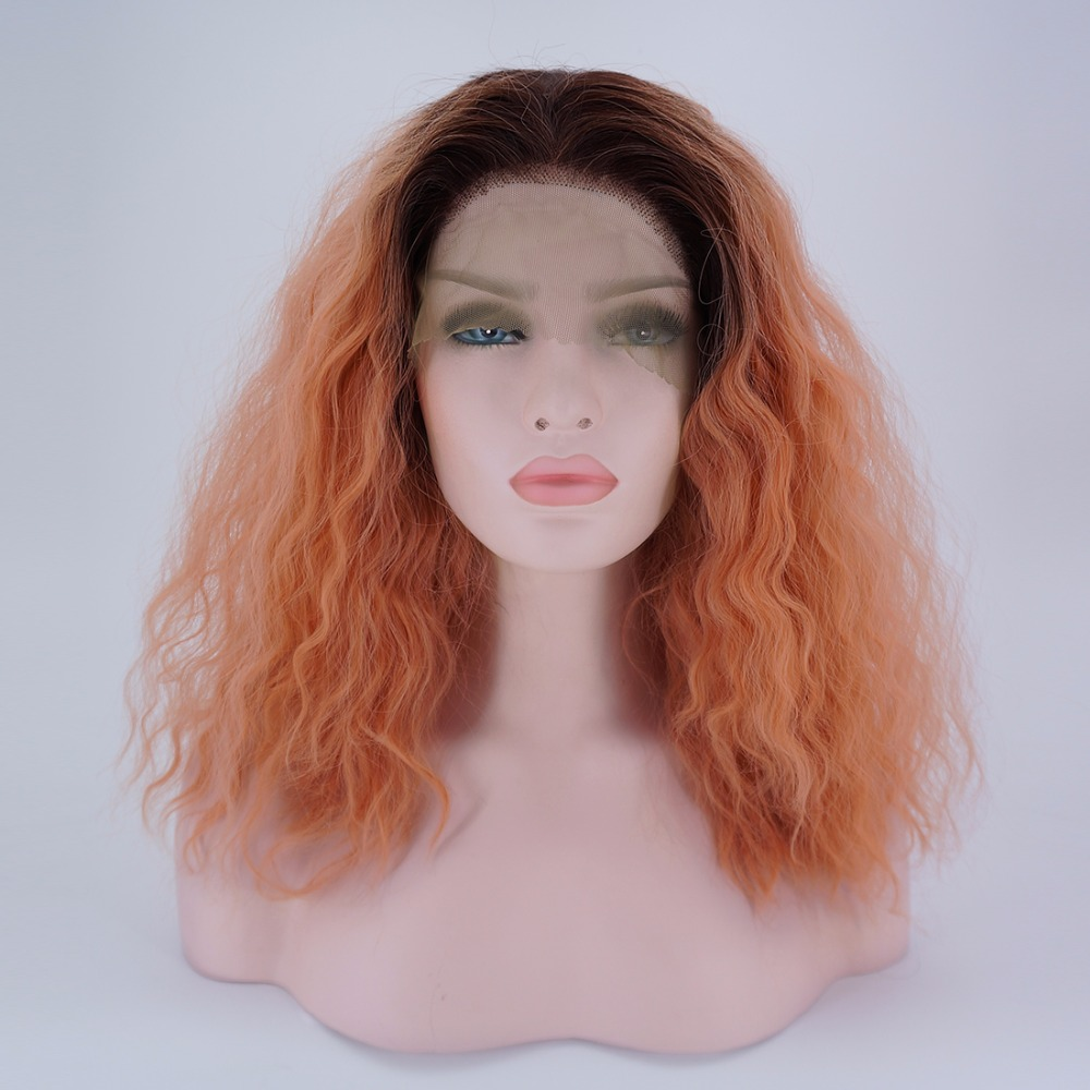 "14"" Black Mixed Pink Orange Curly Fluffy Medium Fashion Hair Lace Front Wig+cap"