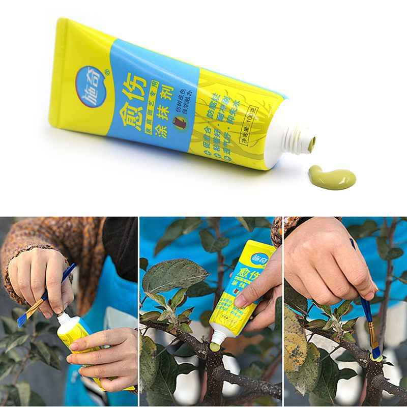 100 グラムの木創傷盆栽カットペーストスミアエージェント剪定化合物シーラーとブラシ