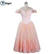 girls light pink romantic ballet dresses lyrical dance ballerina dress costumes long BT9089