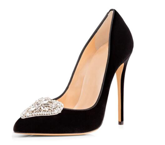 Classic black/white shallow crystal pointed toe high heel shoes for woman Ladies thin heel pumps High heels Dress shoes