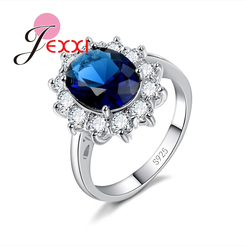 0d7b92ca1b7d JEXXI moda elegante corte de la princesa de boda de cristal de compromiso  bandas anillos Mujer Plata de Ley 925 propuesta anillos Accesorios