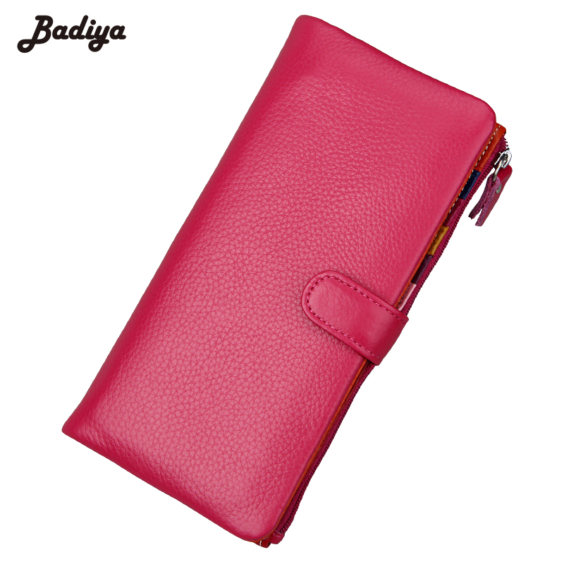 Fashion Women Genuine Leather Candy Color Long Coin Purse Lady Zipper Hasp Clutch Multi-Card Holder Thin Cash Wallets
