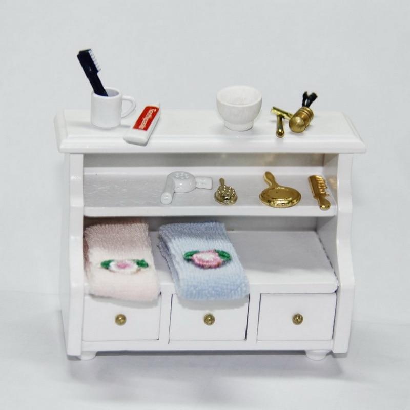 Lage Kast Badkamer.1 12 Poppenhuis Miniatuur Meubelen Model Houten Lage Kast Handdoek
