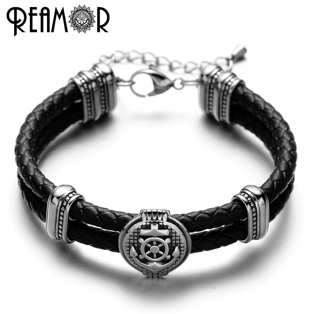 REAMOR Double Braided Leather Rudder & Anchor Charms Bracelet 316L Stainless Steel Bead Trendy Bracelet & Bangles Men Jewelry