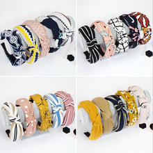 TWDVS 1PC Top Knot Hair Bow Headband Elastic Hairband for Women Hair Accessories Flower Headband Hair Band for Girls cheap CN(Origin) Polyester COTTON Adult Headwear Hairbands Fashion Print w--141 green red blue black grey yellow purple while