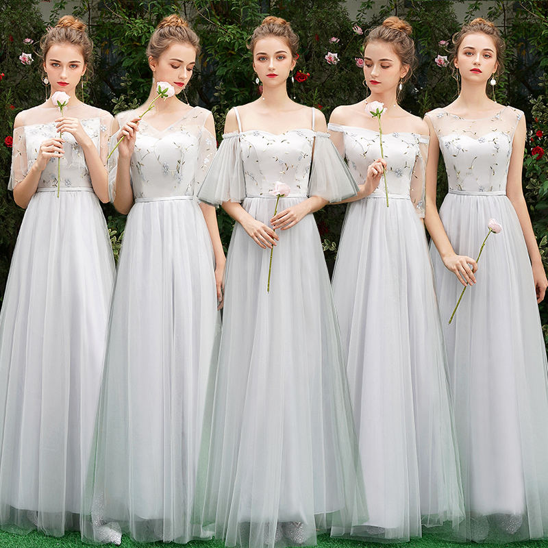 Beauty-Emily Lace   Bridesmaid     Dresses   2019 Long Plus Size for Women A-Line Half Sleeve Vestido da dama de honra