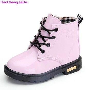 Girls Martin Boots Girls Boys Shoes 2018 Autumn PU Leather Children Boots Fashion Toddler Kids Boots Warm Winter Boots Boy