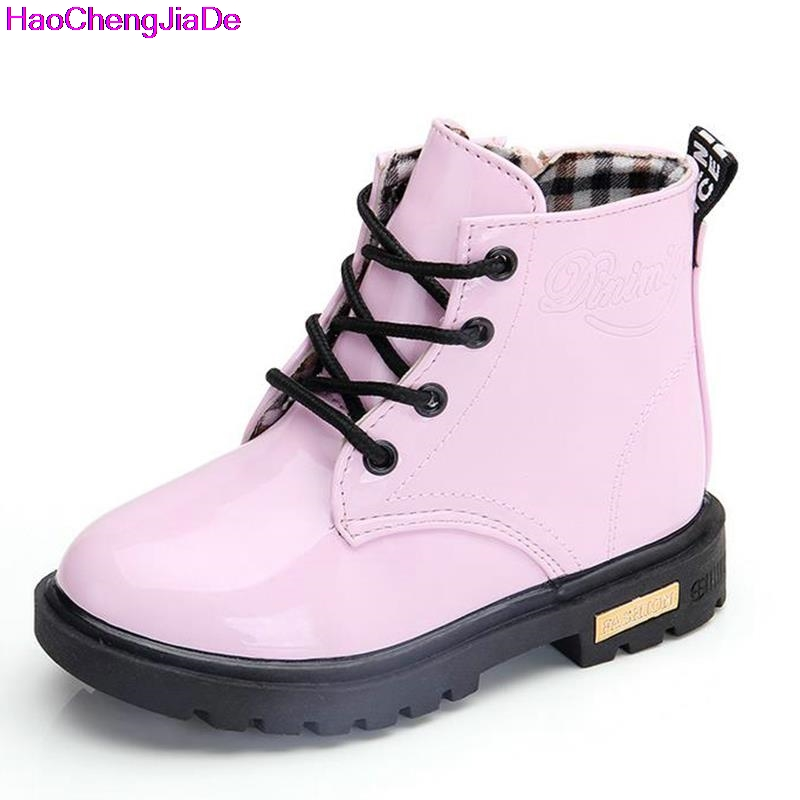 Girls Martin Boots Girls Boys Shoes 2018 Autumn PU Leather Children Boots Fashion Toddler Kids Boots Warm Winter Boots Boy
