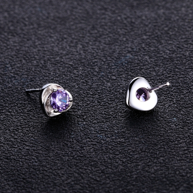 Stud Earrings for Women 925 Sterling Silver Fine Jewelry Genuine Solitaire Round Natural Amethyst Stone Love Heart Gifts