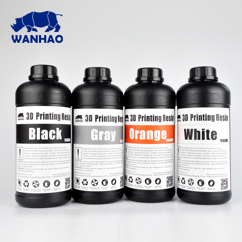 Cheap and high quality 405NM WANHAO Resin  DLP Printer Resin  SLA 3D Printer Resin , 2 Liters ( 2 bottles of 1 liter ) 1000mlhigh quality photopolymer resin photoreactive resin for sla 3d printer dlp 3d printer of fd165 and form1 and form 1