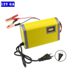 цены на 12V 6A Smart Car Battery Charger Automatic Auto Motorcycle Scooter Lead Acid AGM GEL Charger 12V With Intelligent LCD Display  в интернет-магазинах