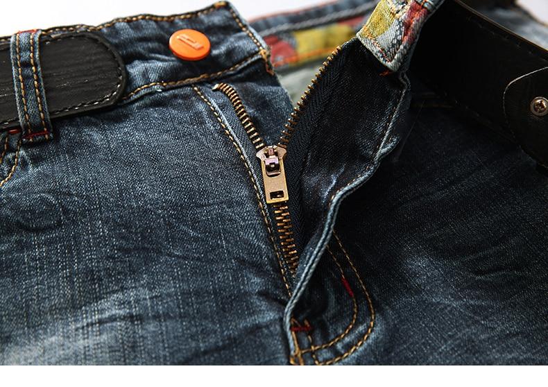 KSTUN Men's Shorts Jeans Dark Blue Stretch Retro Fashion Pockets Designer Poker Printed Ripped Biker Motor Jeans Denim Pants 14