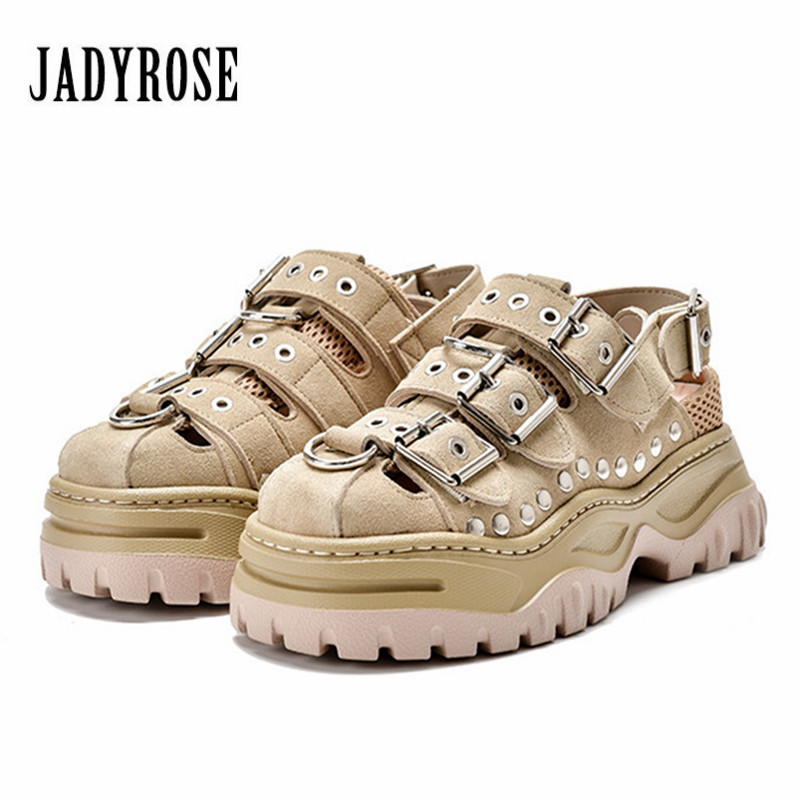 Jady Rose Hollow Out Women Sandals Punk Style Platform Creepers Rivets Studded Summer Sandal Casual Flats