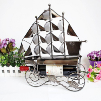 High Quality Stainless Steel Sailboat Wine Rack Wedding Christmas Gifts Desktop Decoration Big Quantity Best Price