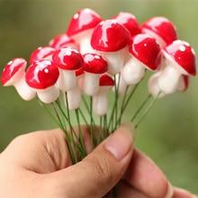 30pcs kawaii resin crafts Decorations Mushroom fairy garden miniatures accessories Micro Landscape Bonsai Plant inserted