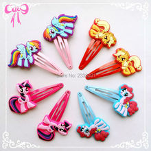3/8/10Pcs Children Pig Hair Accessories My little Ponys Hair Clip Cartoon Kids Hairpins Cute Hair Ornaments Flower Crown