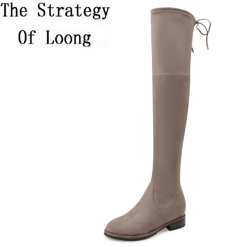 2017 New Pure Color Lace Up Flock Women Spring Autumn Long Boots Pointed Toe Pigskin Normal Size Over The Knee Boots ZY171019 the security issues of cloud computing over normal