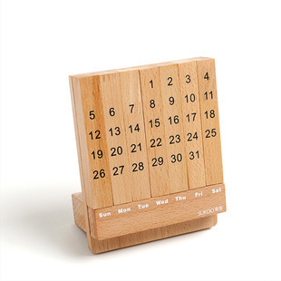 Creative Wood Calendar Desk Time Wooden Table Kalendar