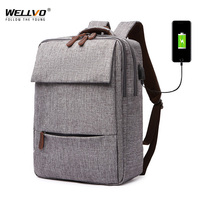 High Quality USB Canvas Backpack Men Business Laptop Backpacks for Teenage Girls School Bags Big Travel Bags Rucksack XA62ZC