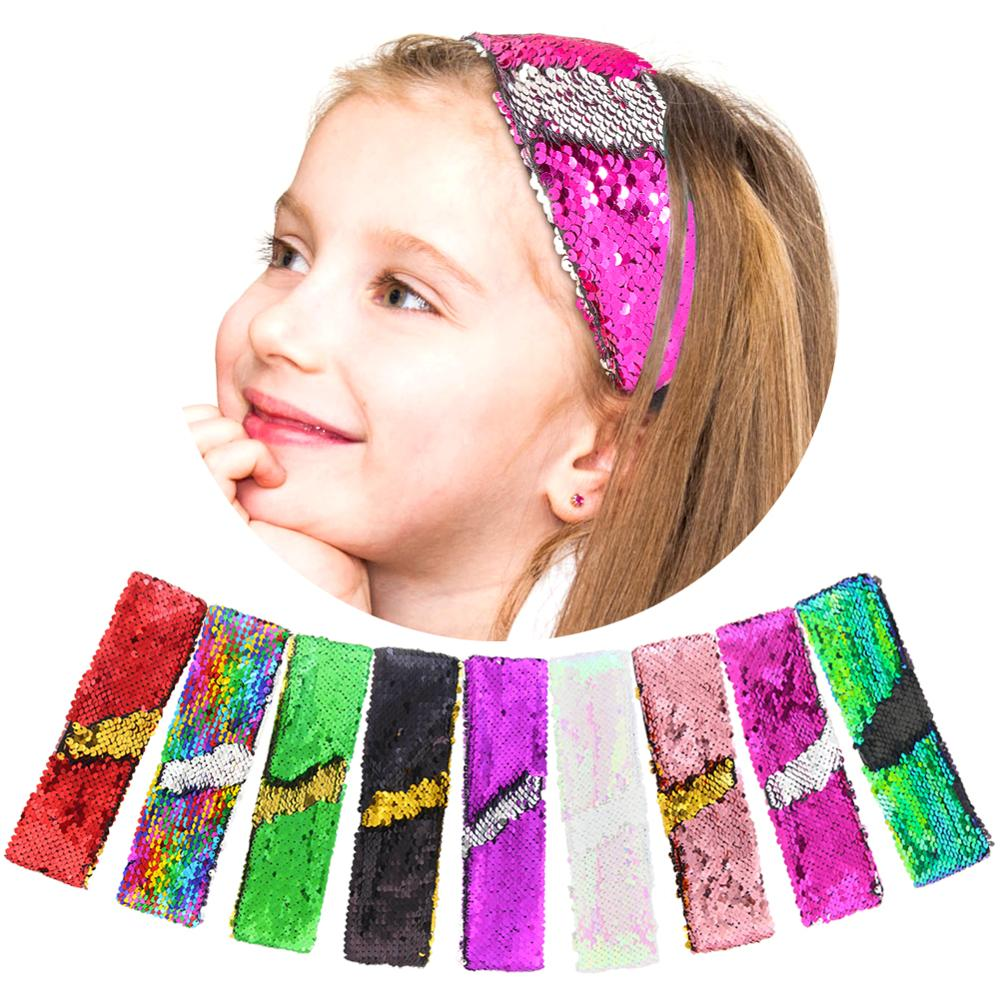 Girls Glitter Sequin Headband Hair Accessories for Girls Birthday Party Gift Favors Children Colorful Changing Sequins Mermaid