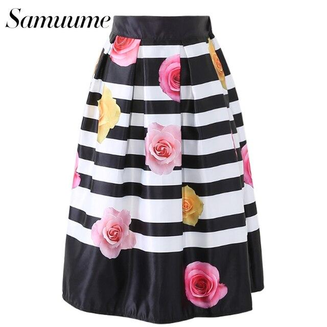 fff1f7e29 Samuume Elegant Rose Flower Print Midi Skirts Women 2018 Black White  Striped Elastic High Waist Pleated Skirt Faldas A1605039