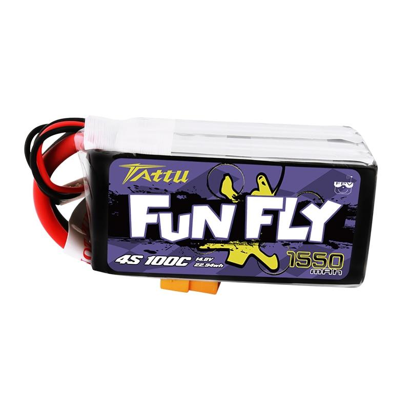 Ace TATTU FUNFLY 1300mAh 1550mAh 1800mAh 3s 4s 6s 100C 12.6v 16.8v 25.2v  Lipo Battery XT60 Plug FPV 250 230 210 180 Size Drone