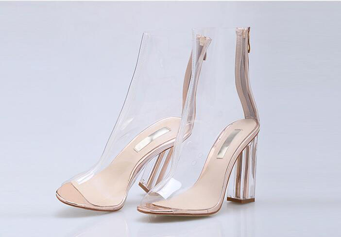 Sexy heel women shoes with peep toe 9 cm high clear heels Summer women ankle boots air mesh and perspex details gold black boots western femme clear heel transparent boots plastic women ankle booties peep toe high heels shoes summer short boots new fashion