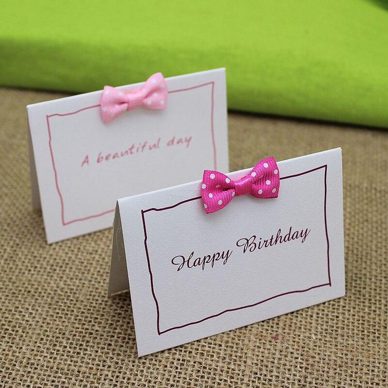 unidslote creativa de corea del bowknot dulce elegante tarjetas de mensaje