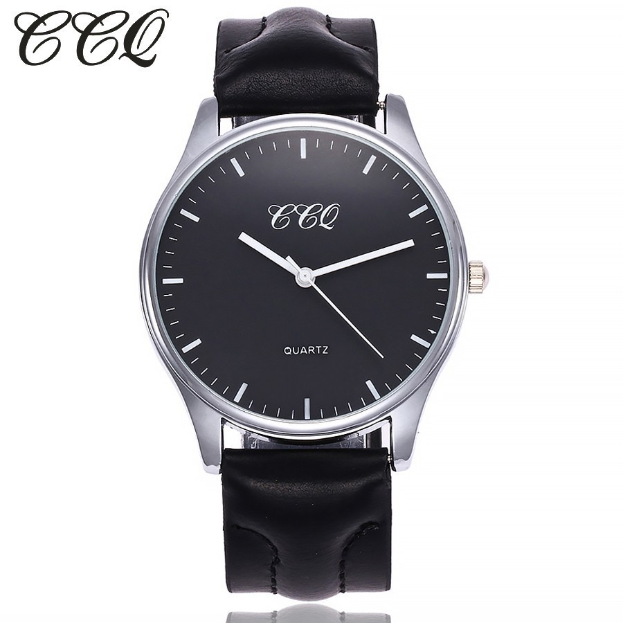 CCQ Brand Fashion Leather Quartz Watches Casual Men Business Sport Male Clock Waterproof Military Wrist Watch Relogio Masculino liebig brand men watches male 50m waterproof quartz watch with calendar for outdoor sport leather strap relogio masculino 1014
