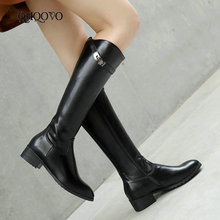 Women Fall Winter Fashion Knee High Boots comfy Low Heel Round Toe Women Boots Ladies Buckle Zipper Boots Black White Green south korean style winter knee high boots round toe slipsole slip on buckle strap all purpose black brown women riding boots