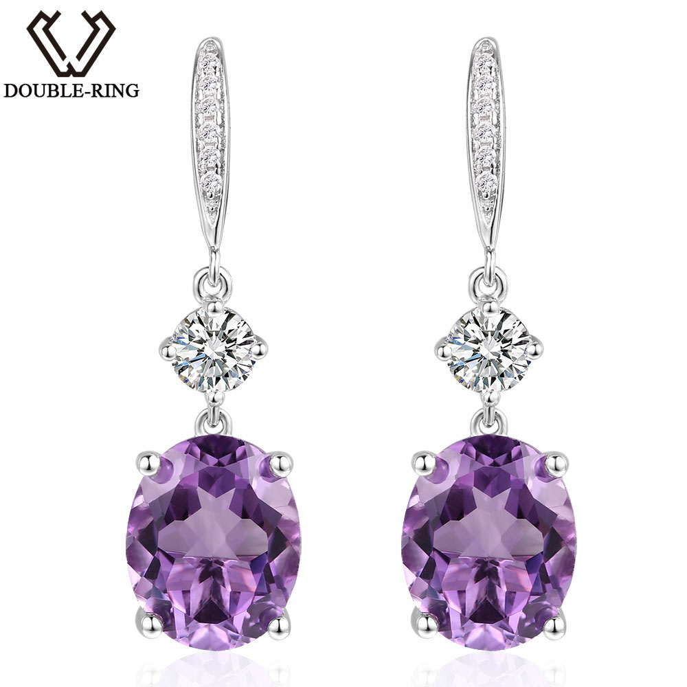 DOUBLE-R 4.95ct Asli Amethyst Alami 925 Sterling Silver Drop Earrings - Perhiasan bagus