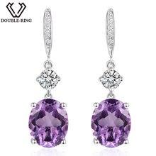 DOUBLE-R 4.95ct Genuine Natural Amethyst 925 Sterling Silver Drop Earrings  fine Wedding Jewelry Long Dangle Earrings for Women