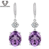 DOUBLE R 4.95ct Genuine Natural Amethyst 925 Sterling Silver Drop Earrings fine Wedding Jewelry Gemstone Earrings for Women